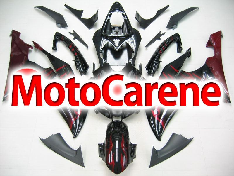 YAMAHA YZ-F R6 carena ABS anno 2008 2010 Kit fairing Art. 16 Black Fire Red