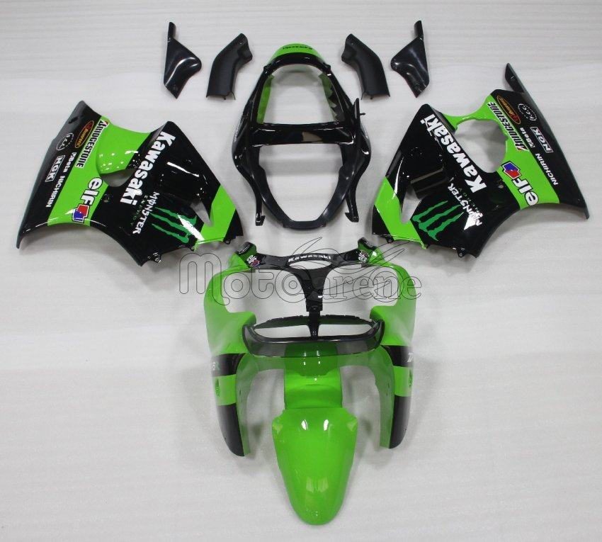 KAWASAKI ZX 6R Carena ABS Anno 2000-2002 Kit Fairing Art 03  Verde Nera