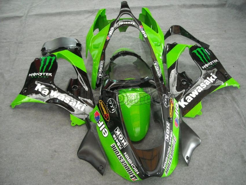 KAWASAKI ZX 9R Carena ABS Anno 2000-2003 Kit Fairing Art 08  Green Black