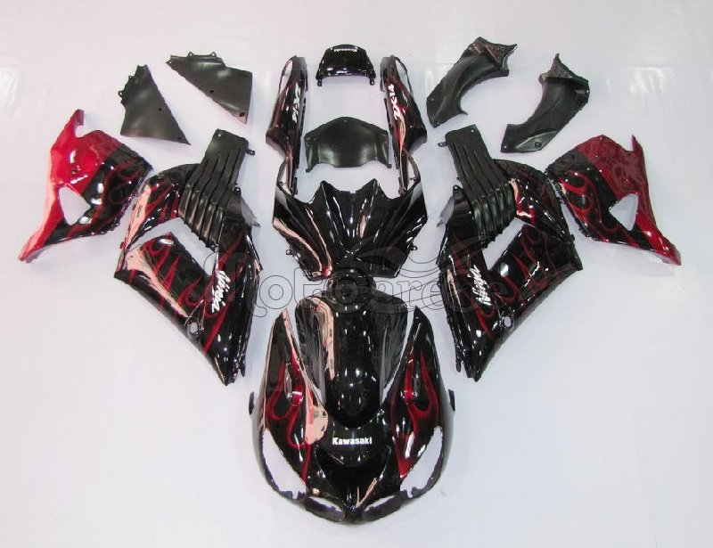KAWASAKI ZX 14R Carena ABS Anno 2006 - 2007 Kit Fairing Art 02 Black Fire Red