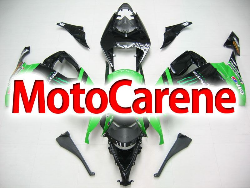 KAWASAKI ZX 10R Carena ABS Anno 2009 - 2010 Kit Fairing Art 05 Nera Verde  Energy