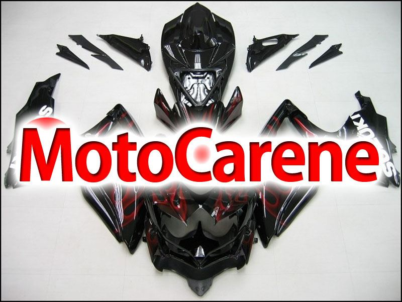 SUZUKI GSX 600 GSX 750 Anno 2008 2010 Carena ABS Kit Fairing Art 08 Black Fire Red