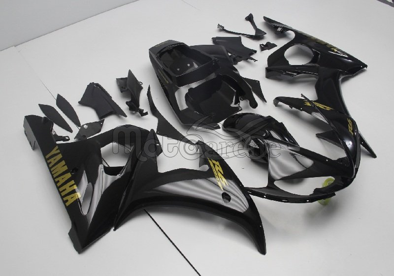 YAMAHA YZ-F R6 Carena ABS Anno 2005 Kit Fairing Art 31 Black write Gold personalizzata