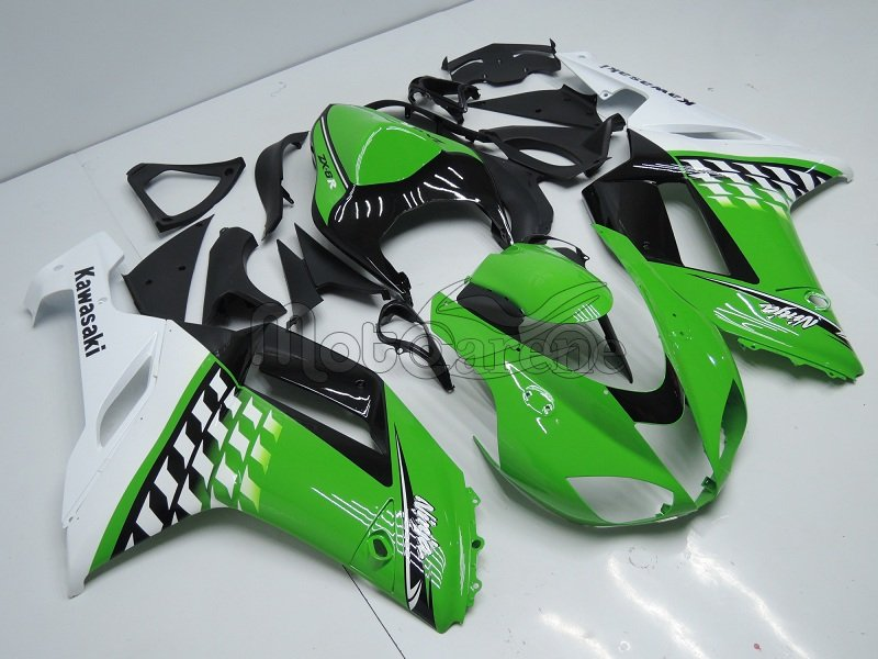 KAWASAKI ZX 6R Carena ABS Year 2007-2008 Kit Fairing bodywork Art 18-a White green ninja