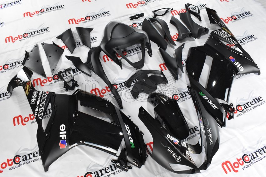 KAWASAKI ZX 6R Carena ABS Anno 2007-2008 Kit Fairing Art 08-A black total  Energi drink