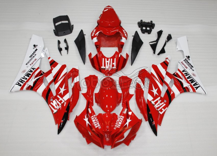 YAMAHA YZ-F R6 Carena ABS Anno 2006 2007 Kit Fairing Art 22 Fiat Red Acer