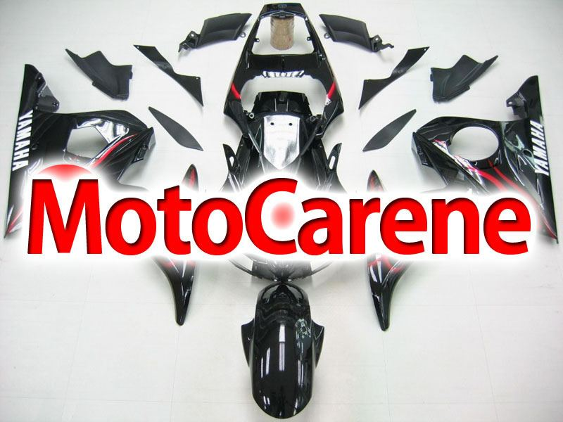 YAMAHA YZ-F R6 Carena ABS Anno 2003 2005 Kit Fairing Art 27 Black Fire Red