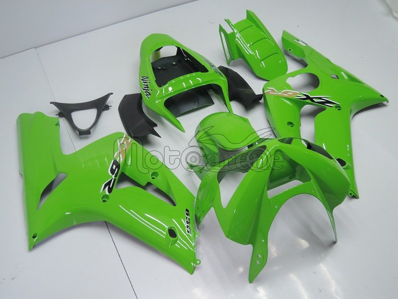 KAWASAKI ZX 6R Carena ABS Year 2003-2004 Kit Fairing Art 02 Verde Ninja Totale