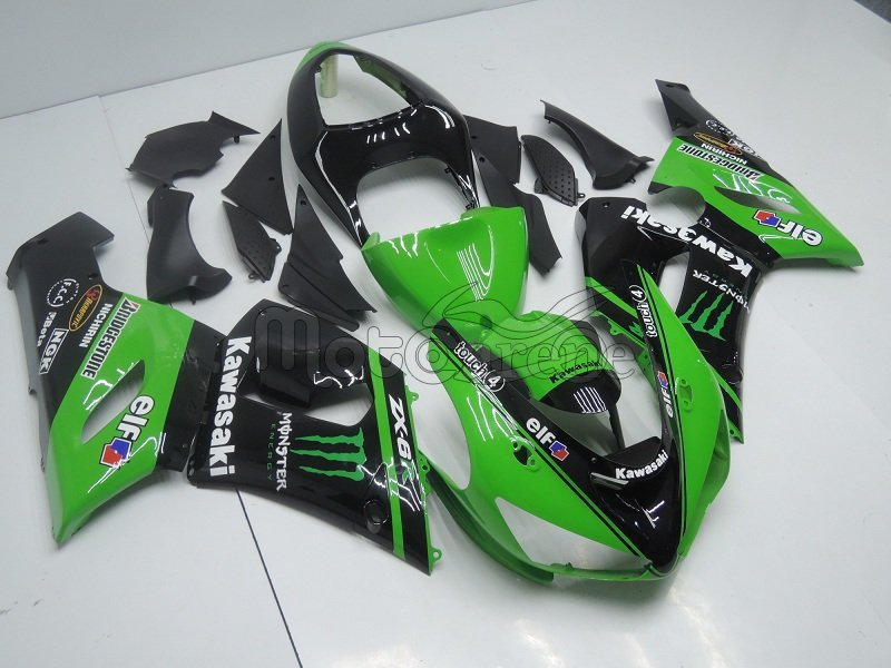 KAWASAKI ZX 6R Carena ABS Year 2005-2006 Kit Fairing Art 09  Verde Ninja