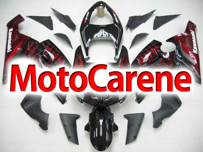 KAWASAKI ZX 6R Carena ABS Year 2005-2006 Kit Fairing Art 19 Nera Fiamme rosso Lucido