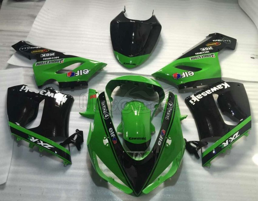 KAWASAKI ZX 6R Carena ABS Year 2005-2006 Kit Fairing Art 35 Nera Verde Racing