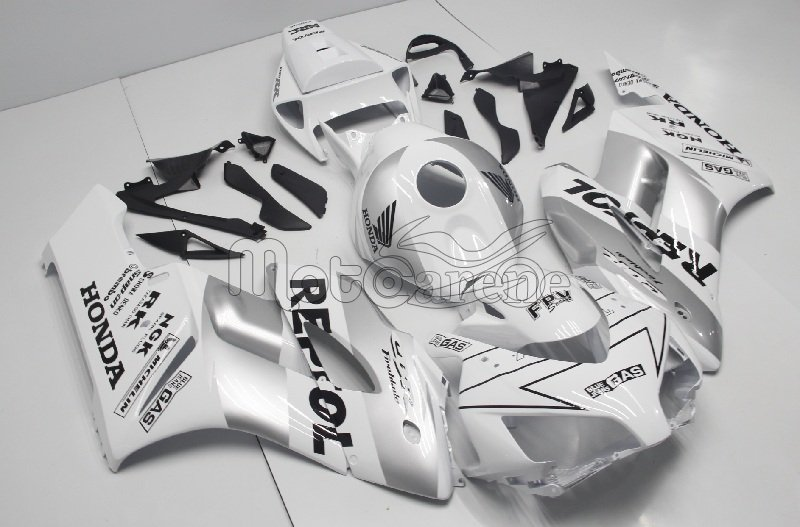 HONDA CBR 1000RR Year 04 05 Carena ABS Kit Bodywork Fairing Art 31 Repsol HRC Silver Bianco