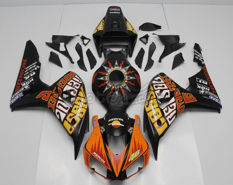 HONDA CBR 1000 RR Year 06 07 Carena ABS Kit Fairing Art 15 Repsol HRC Nero Opaco Vale 46