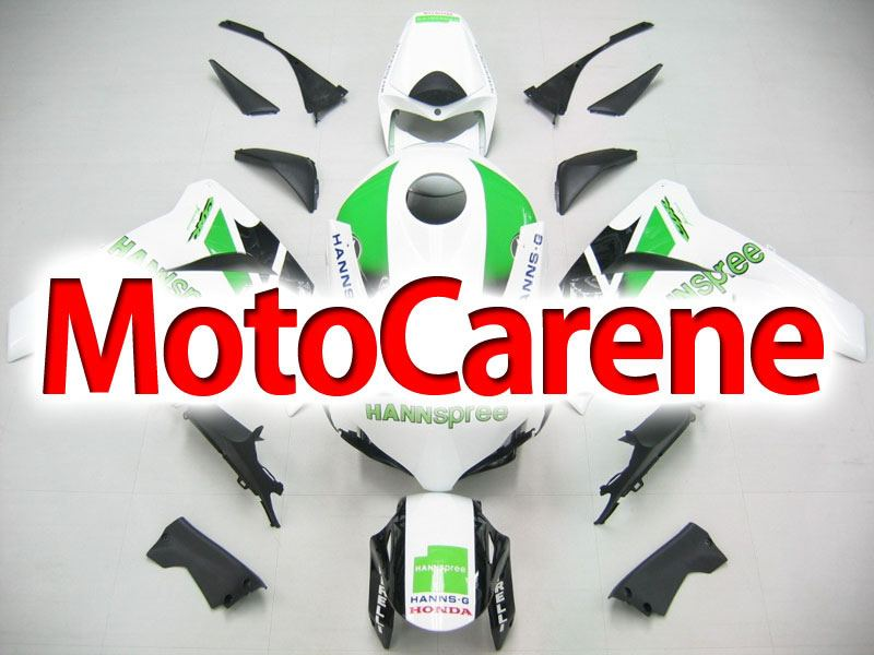 HONDA CBR 1000 RR Anno 08 11 Carena ABS Kit Bodywork Fairing Art 04 Hannspree Bianco Verde